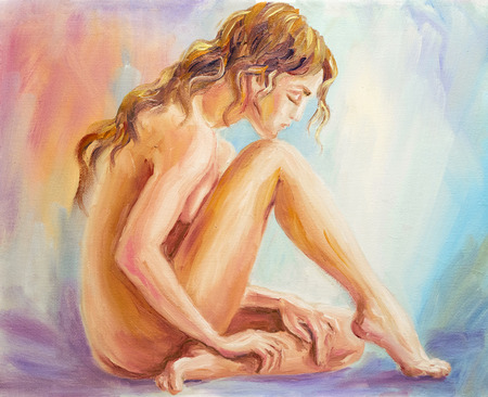 Beautiful woman at the morning. Oil painting.