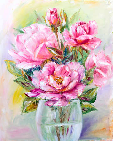 remarkable: Roses bouquet in glass vase