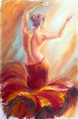oil painting: Beautiful dancing woman in red. Oil painting. Stock Photo