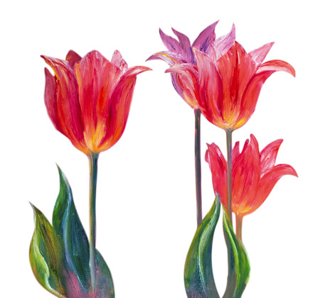 Tulpen, olieverf op doek Stockfoto