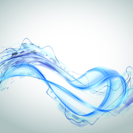 water wave: Abstract blue water splash isolated on white background. Vector illustration