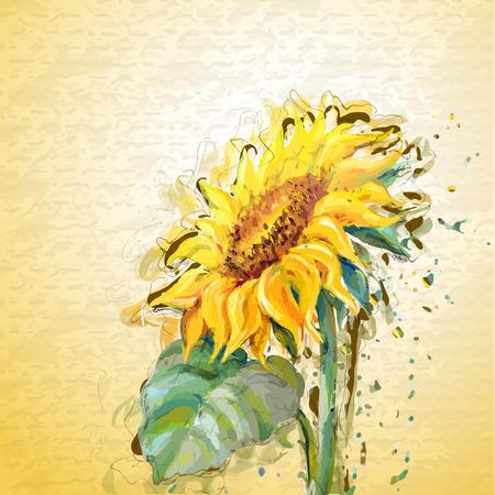 グランジ絵画ヒマワリ。 写真素材 - 31479563