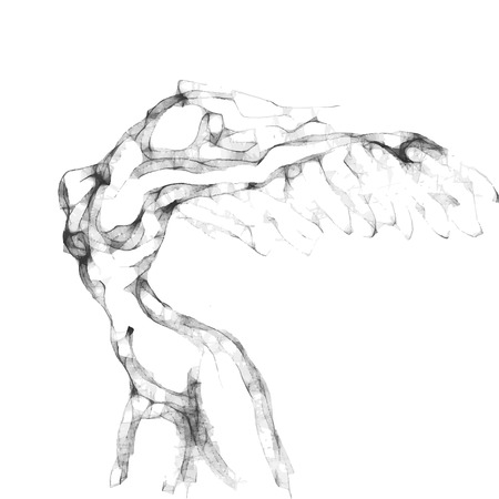 nude woman posing: Sketch of flying woman