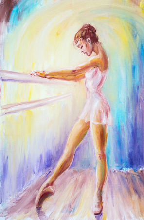 Beautiful young ballerina. Oil painting.