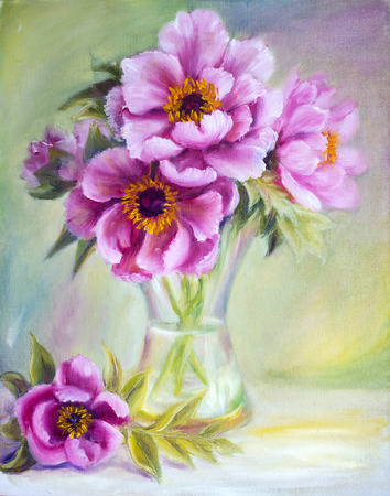Peonies in vase, oil painting on canvas photo