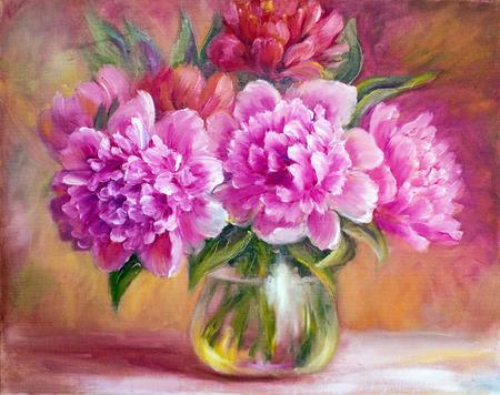 花瓶、キャンバスに油彩画牡丹 写真素材