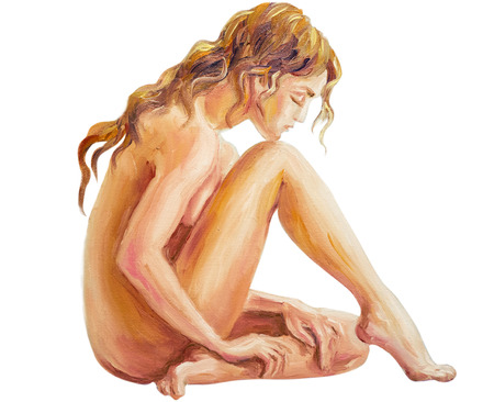 nude girl sitting: Beautiful woman at the morning. Oil painting. Isolated on white.
