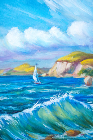 seacoast: Sailing boat in the sea. Oil painting.