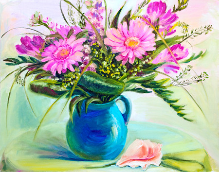 flower in vase: Flowers  in vase, oil painting on canvas