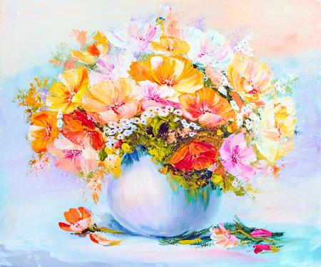 花瓶、キャンバスに油絵の野生の花