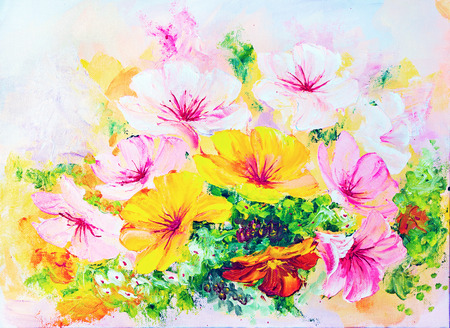 Wildflowers, oil painting on canvas photo