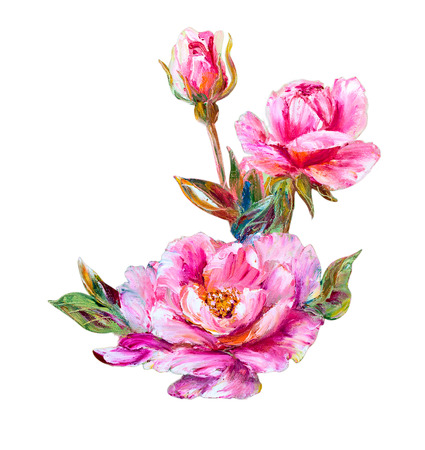 oil painting: Roses isolated on white, oil painting on canvas