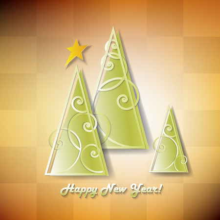 Paper christmas tree. Vector new year card. Vector