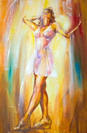 ドレスを着た美しい女性。油絵。