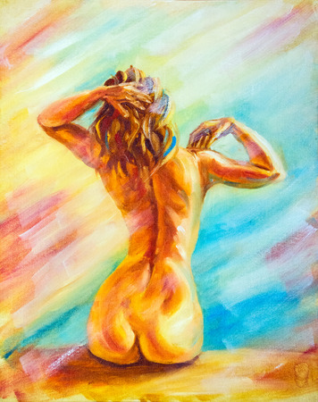 Beautiful naked woman sitting. Oil Painting.