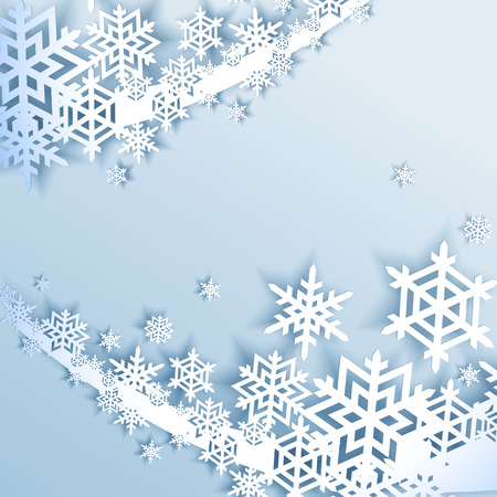 year curve: Abstract blue winter background with snowflakes
