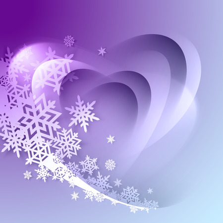 year curve: Abstract purple winter background with snowflakes