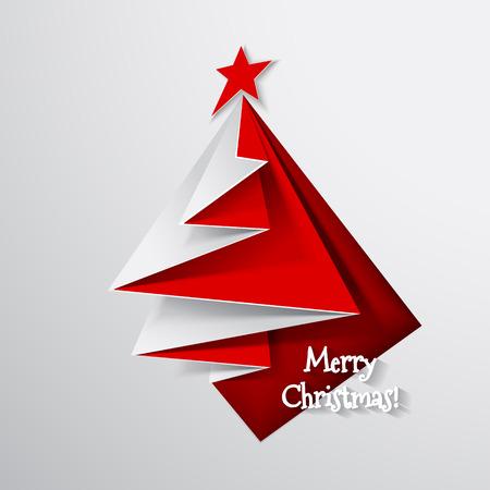 クリスマス ツリー カード折り紙  イラスト・ベクター素材