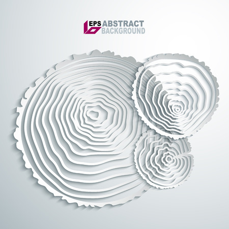 cut paper art: Paper desing. Abstract tree rings background. Illustration