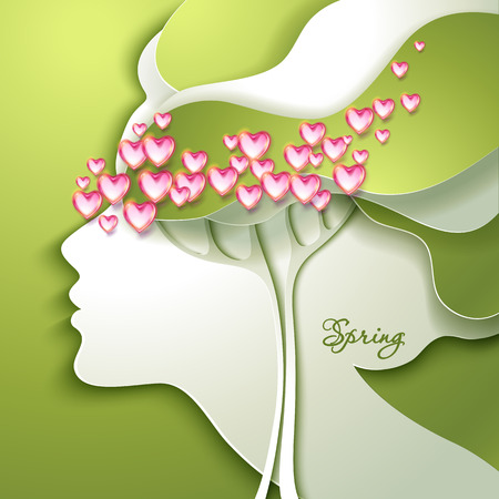 allegory: Greeting Card. Beautiful young woman with flowers in hair