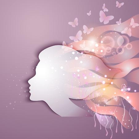 donna farfalla: Bella giovane donna con fiori Vettoriali