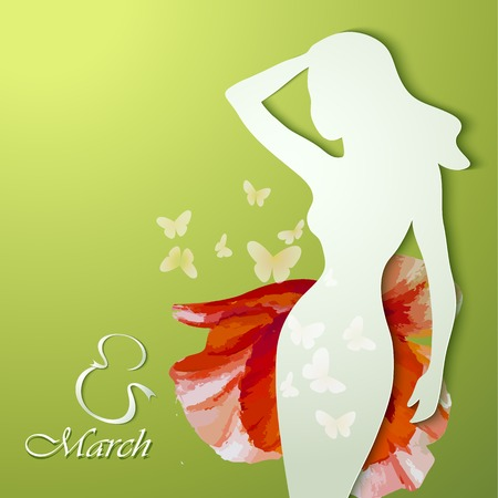 Womens Day Greeting Card. Beautiful young woman with flowers Illustration