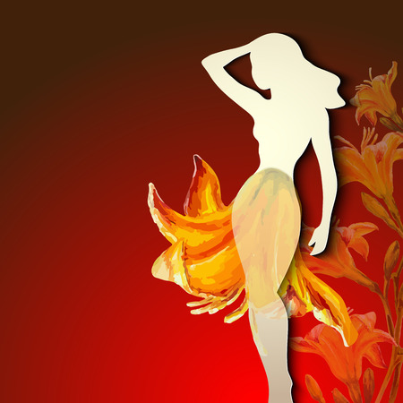 young womens: Beautiful young woman silhouette with flower Illustration