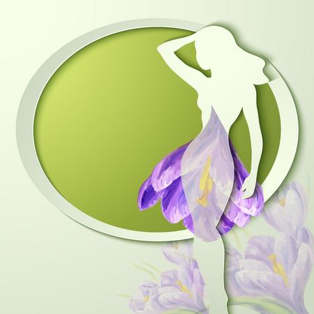 day dream: Spring flowers invitation template card. Wedding, marriage, bridal, birthday, Valentines day. International womens day. Vector illustration Illustration