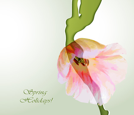 Beautiful young woman silhouette with flower Ilustracja
