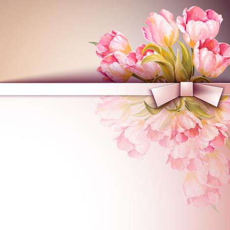 봄 꽃 초대 템플릿 카드입니다. 결혼식, 결혼, 신부, 생일, 발렌타인 데이 일러스트