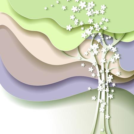 白い花を持つ抽象春木  イラスト・ベクター素材