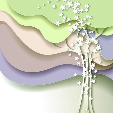 Abstract spring tree with white flowers Ilustração