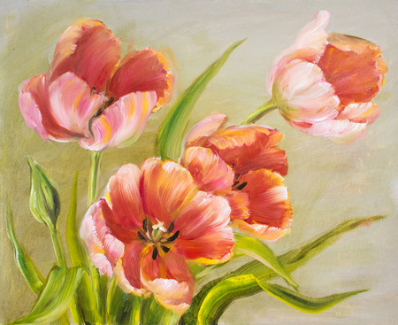 canvas painting: Vintage red tulips. Oil painting on canvas. Stock Photo