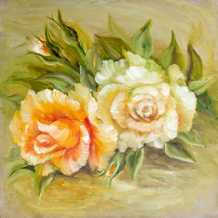yellow roses: Vinage white yellow roses. Oil painting on canvas.