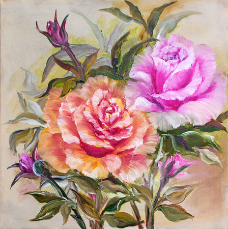 canvas painting: Vinage pink and yellow roses. Oil painting on canvas.