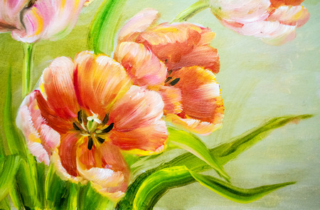 oil in canvas: Vintage red tulips. Oil painting on canvas. Stock Photo