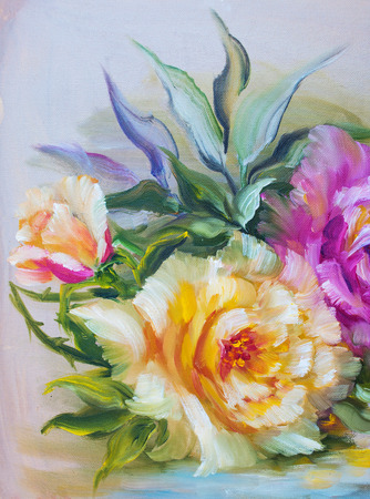 yellow roses: Vinage pink and yellow roses. Oil painting on canvas.