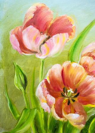 Vintage red tulips. Oil painting on canvas. Stock Photo
