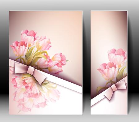 春花の招待状テンプレート カード。イースター、結婚、結婚、ブライダル、誕生日、バレンタイン