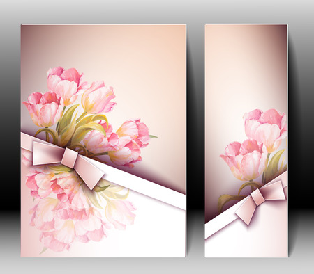 봄 꽃 초대 템플릿 카드입니다. 부활절, 결혼, 결혼, 신부, 생일, 발렌타인 데이 일러스트