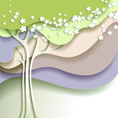 Abstract spring tree with white flowers Ilustração