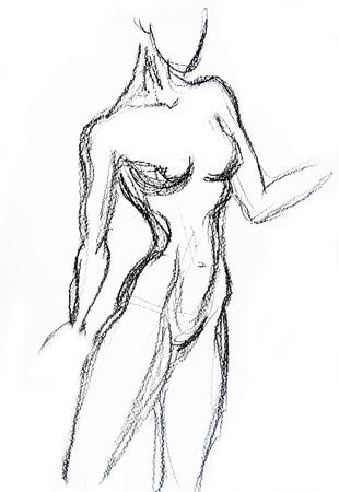 nude woman standing: Woman torso Sketch Pencil drawing
