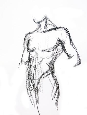 Man torso Schets tekening van het potlood