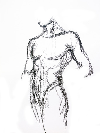 naked male body: Man torso Sketch Pencil drawing