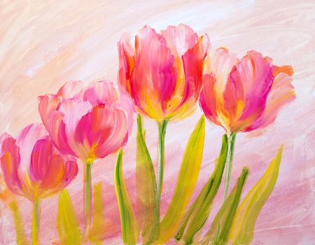 Tulipes rouges Vintage. Peinture à l'huile sur toile. Banque d'images - 39683189