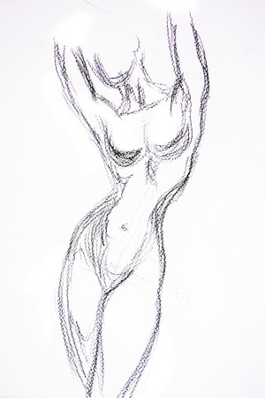 naked female body: Woman torso Sketch Pencil drawing
