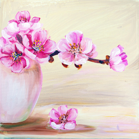 still life flowers: Sakura flowers in vase. Oil painting