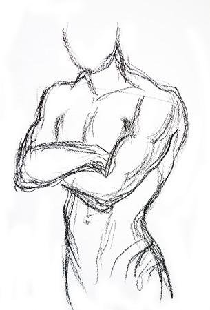 desnudo masculino: Dibujo Hombre torso dibujo a l�piz