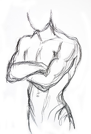 nude man: Man torso Sketch Pencil drawing