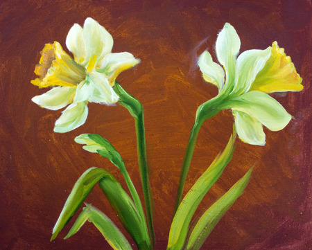 painting nature: Narcissus oil painting on canvas. Stock Photo